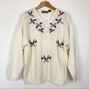 Vintage cottagecore knit sweater embroidered cream
